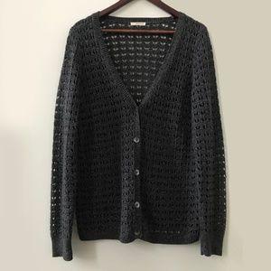DKNY Gray Knit Cardigan Sweater